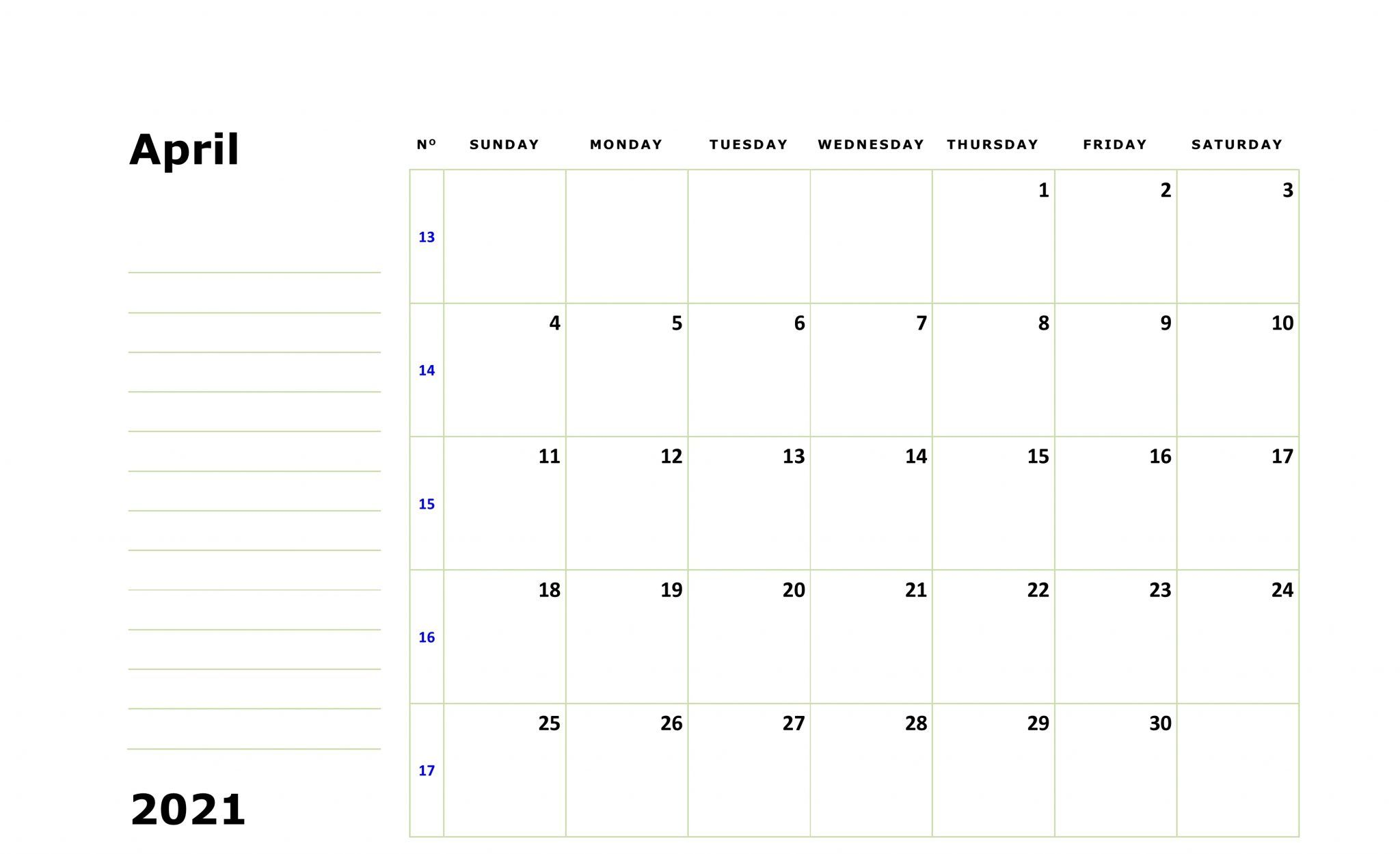 Print April 2021 Calendar Fillable with Large Space Notes