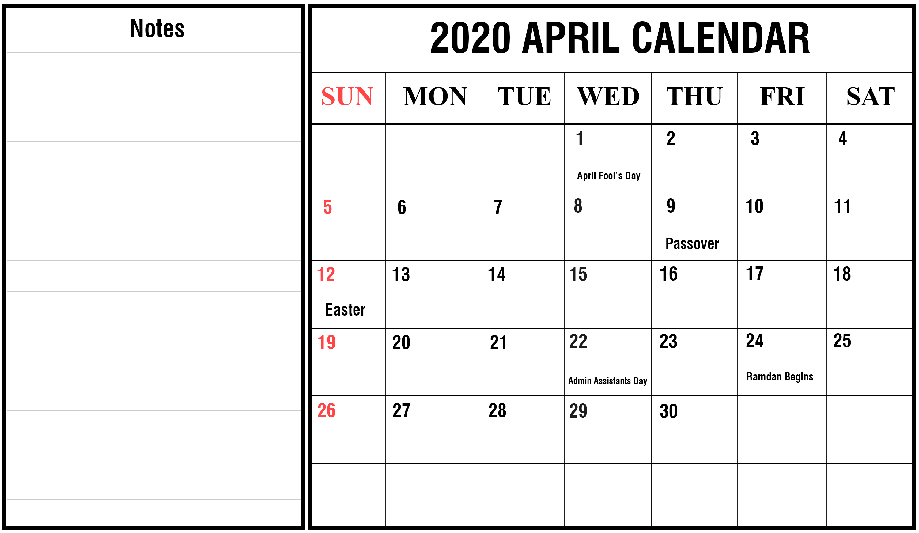 Printable April 2020 Fillable Calendar