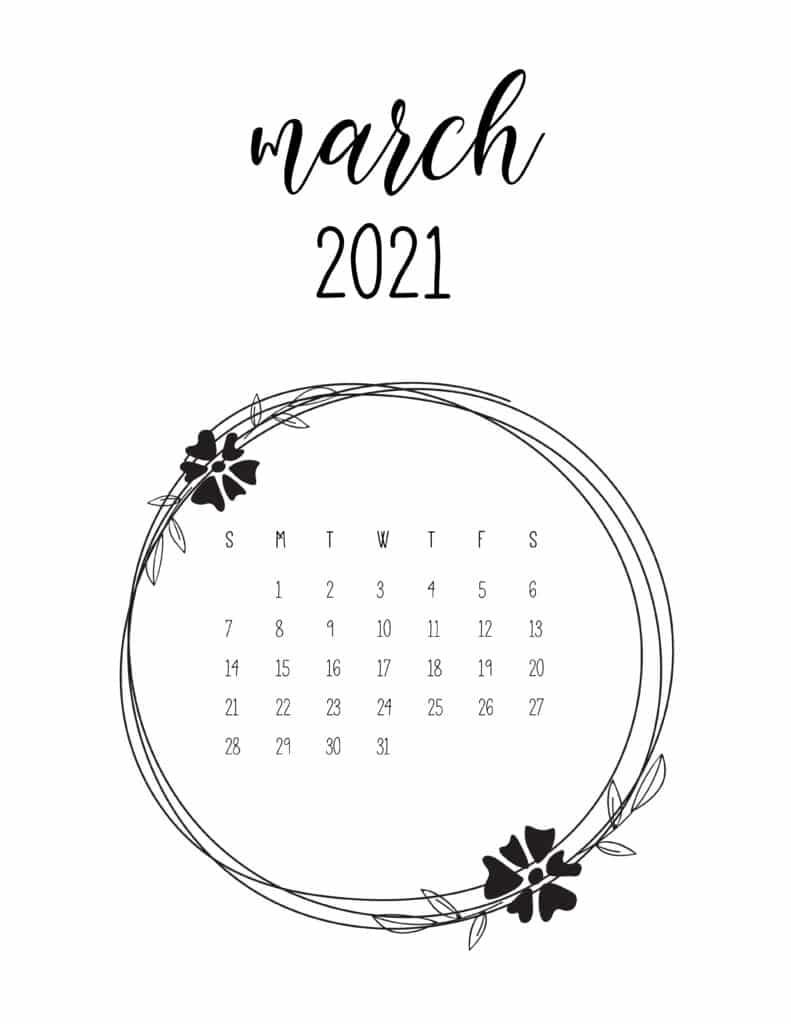 Printable March 2021 Calendar Templates