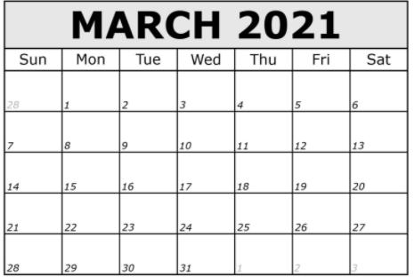 Printable March 2021 Calendar Word