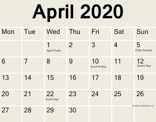 april 2020 calendar with holidays & events