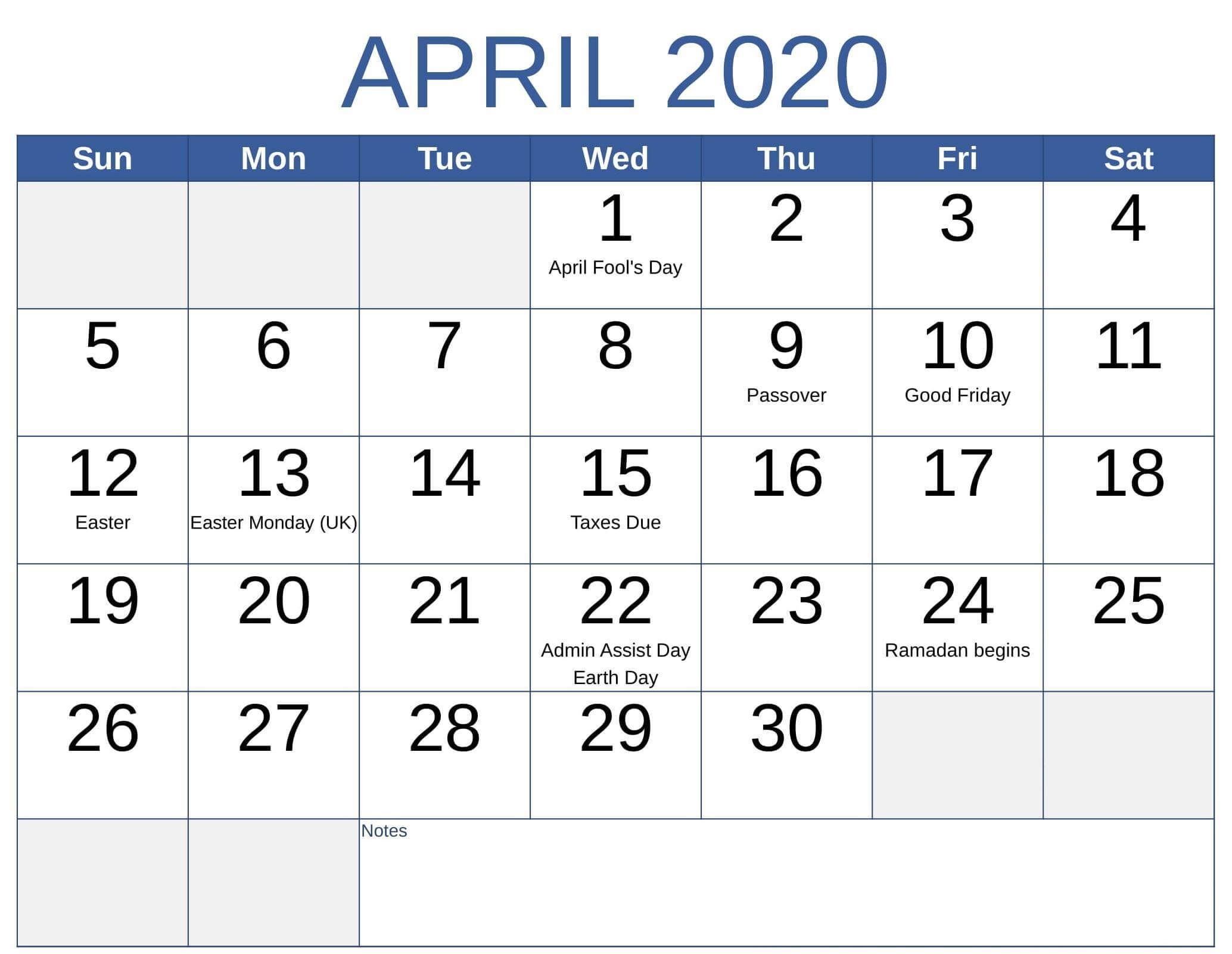 april 2020 calendar with us holidays printable