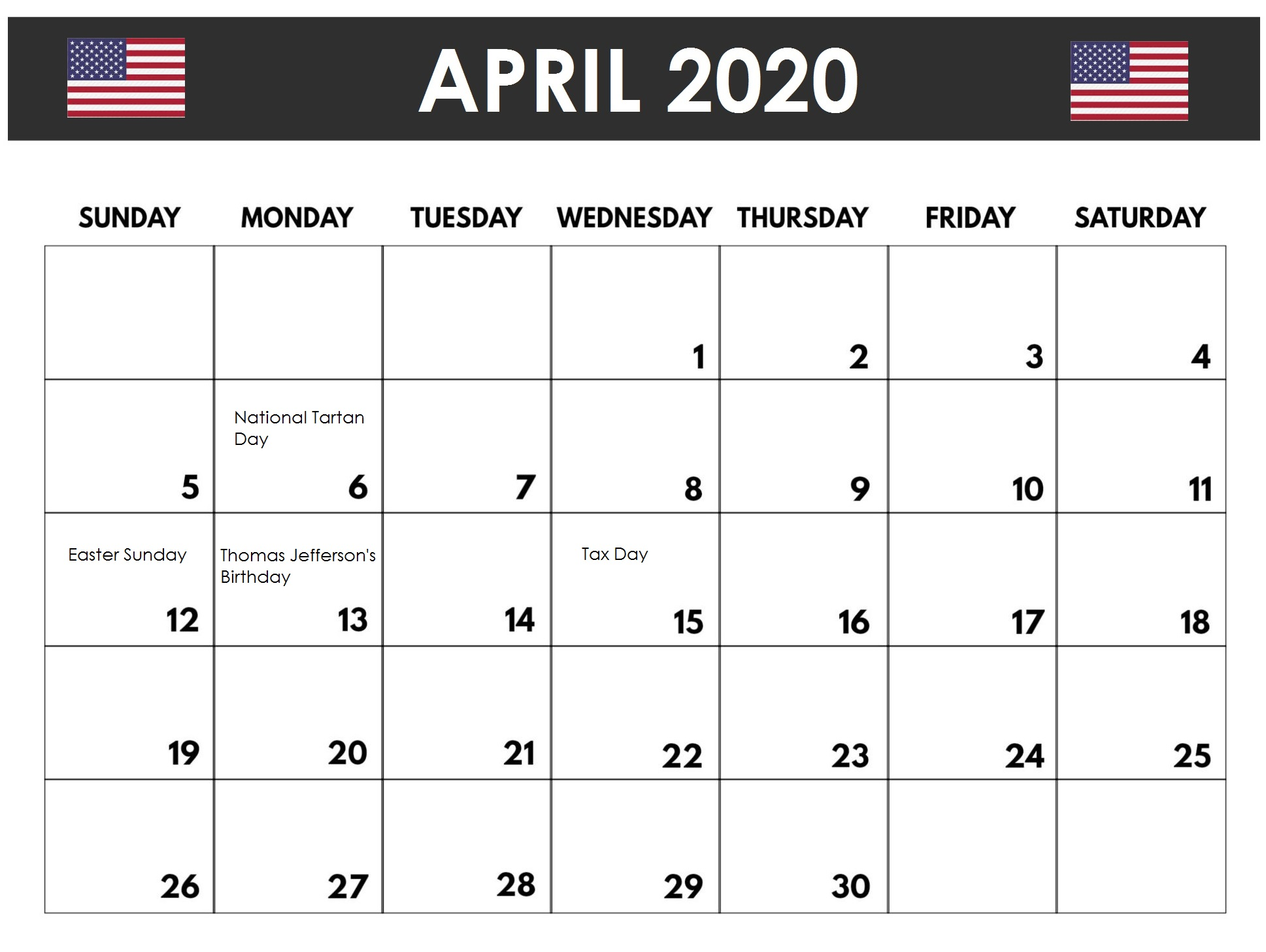 april 2020 holidays calendar usa