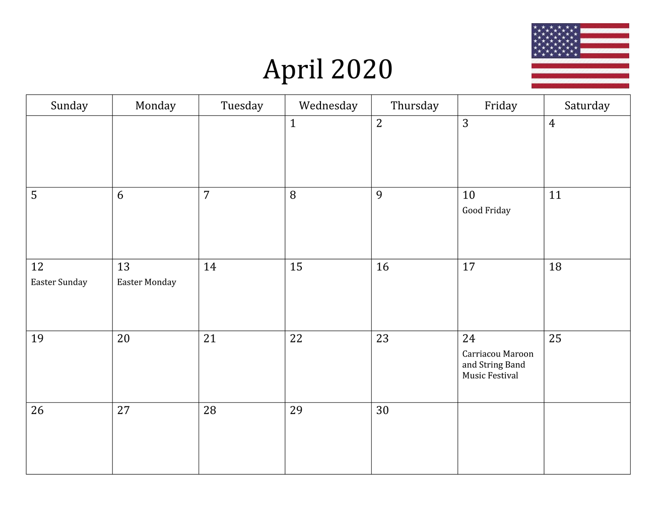 april 2020 us holidays calendar