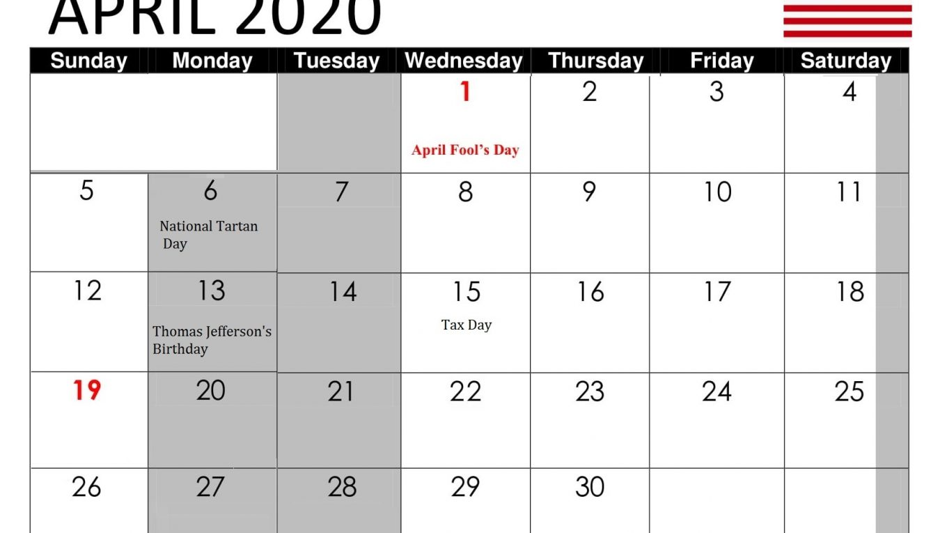 april 2020 usa holidays template