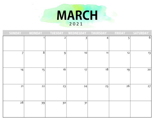 march 2021 calendar for students