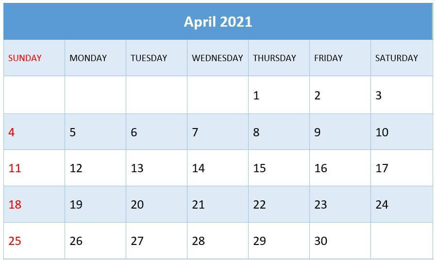 April 2021 Calendar Download