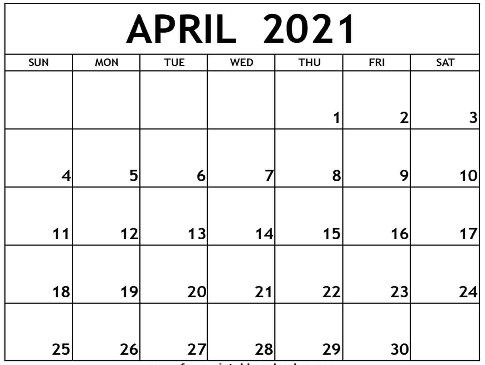 April 2021 Calendar Editable