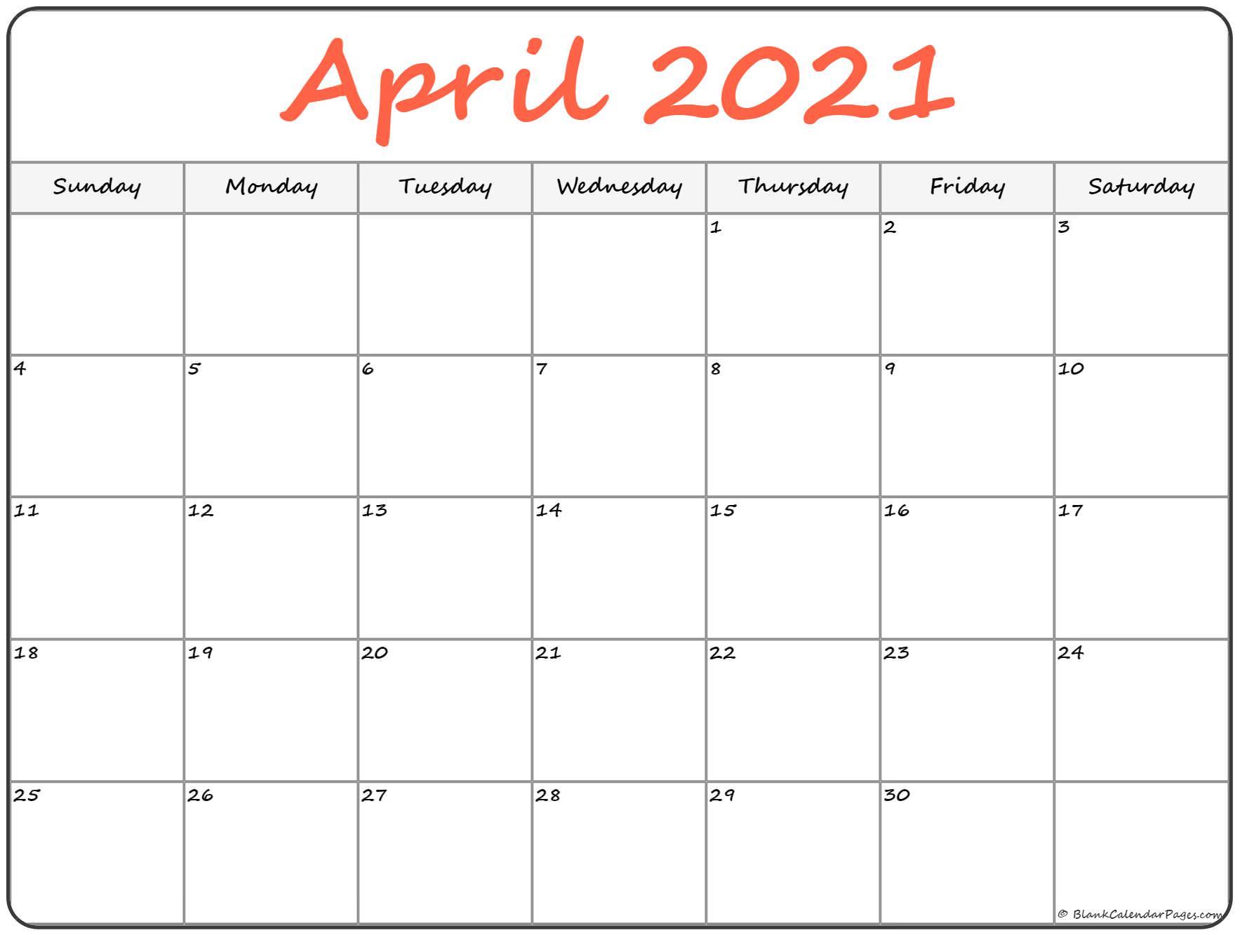 April 2021 Calendar PDF