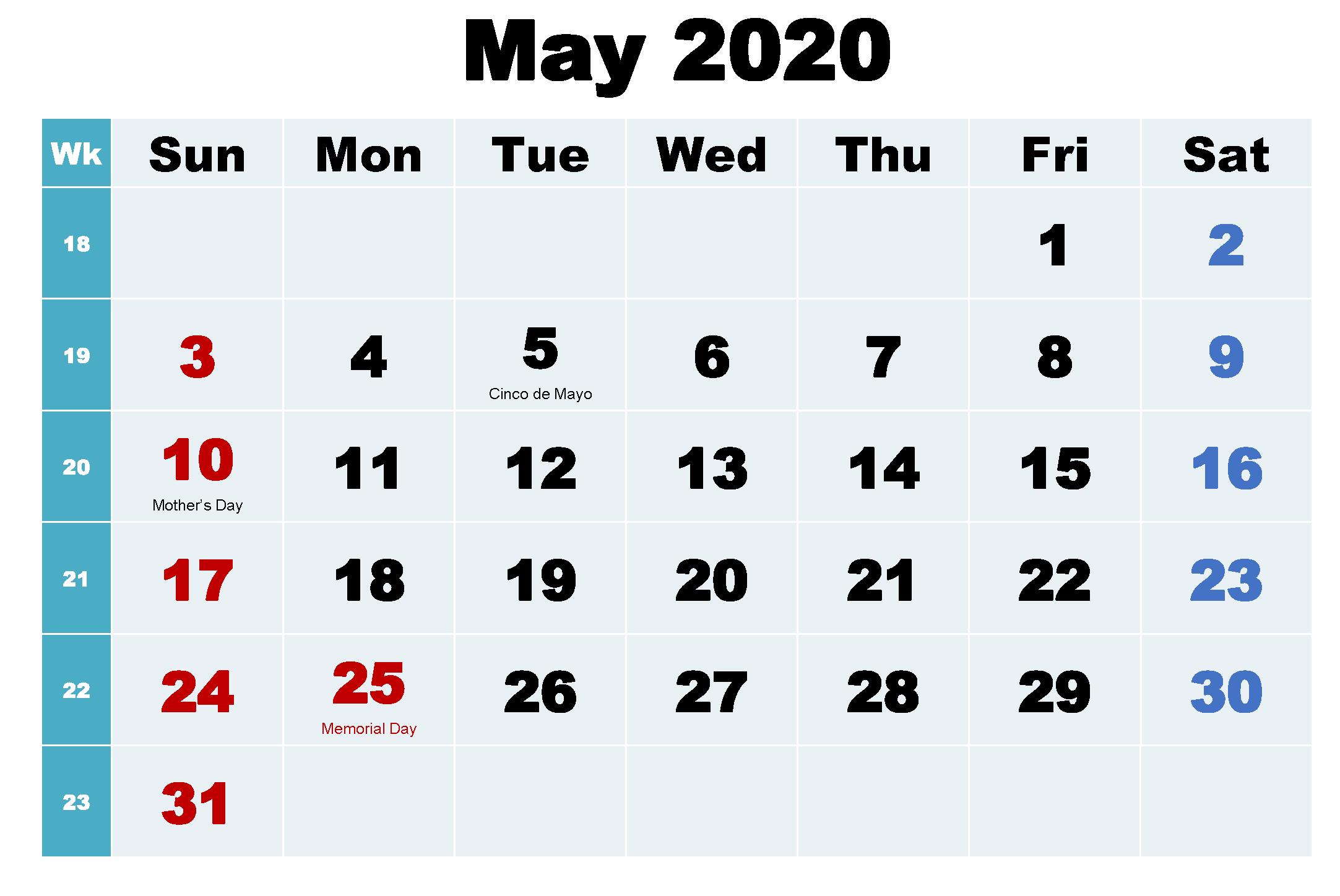 Calendar May 2020 US