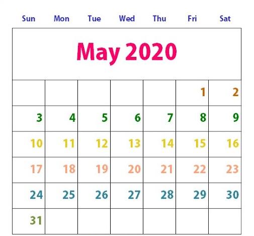 Cute May 2020 Calendar Design