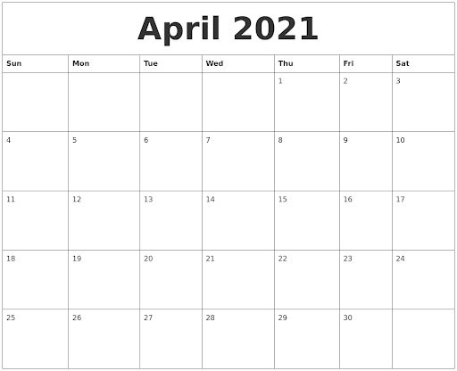 Free April Calendar 2021 Printable Template