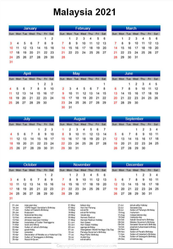 Malaysia Calendar 2021 with Holidays