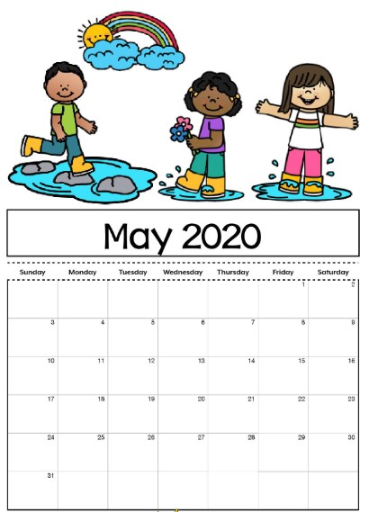May 2020 Calendar For Kids
