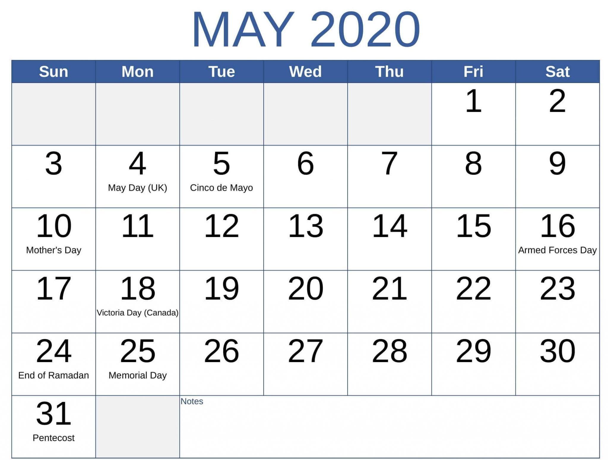 May 2020 Calendar US Federal Holidays