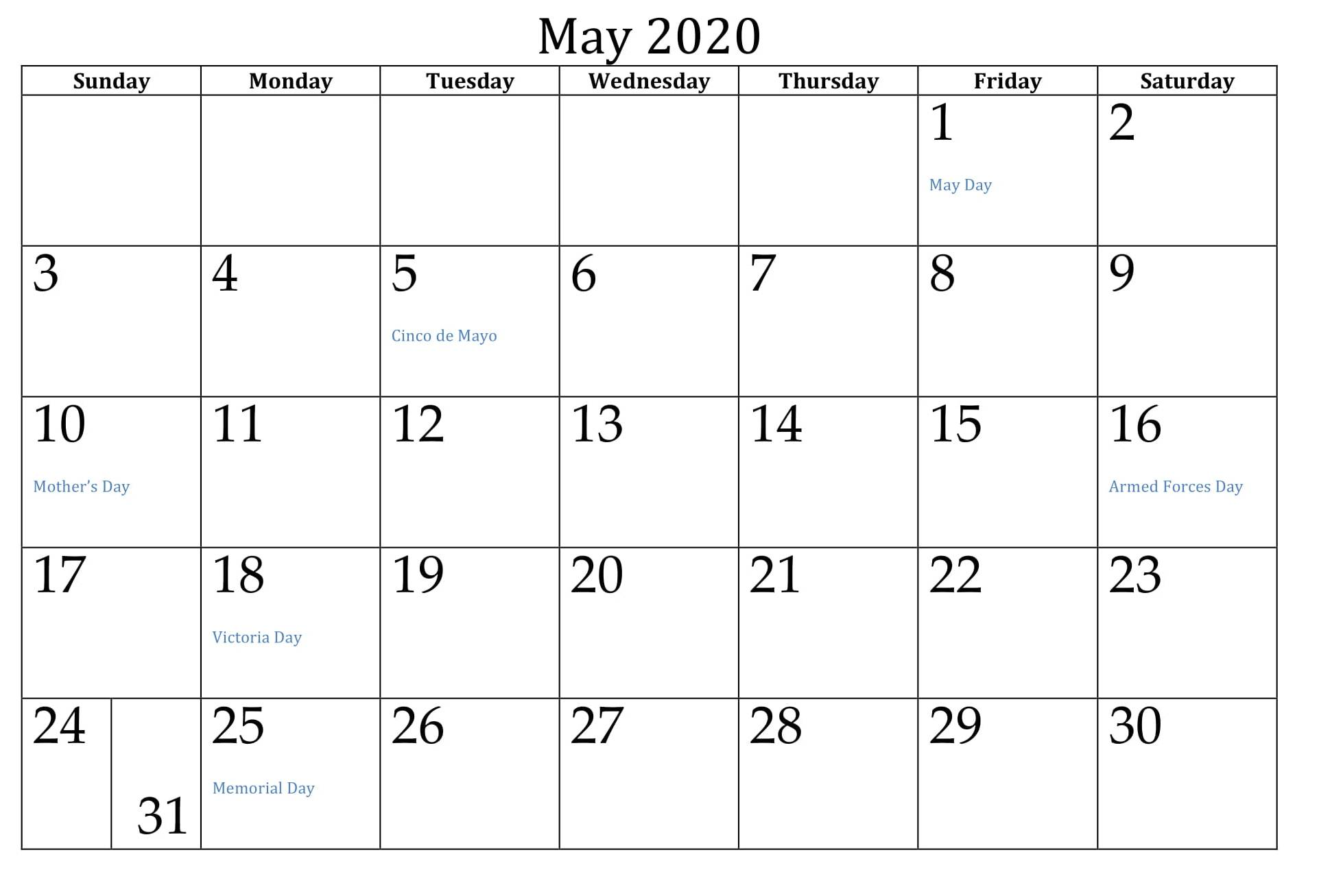May 2020 Calendar US Public Holidays