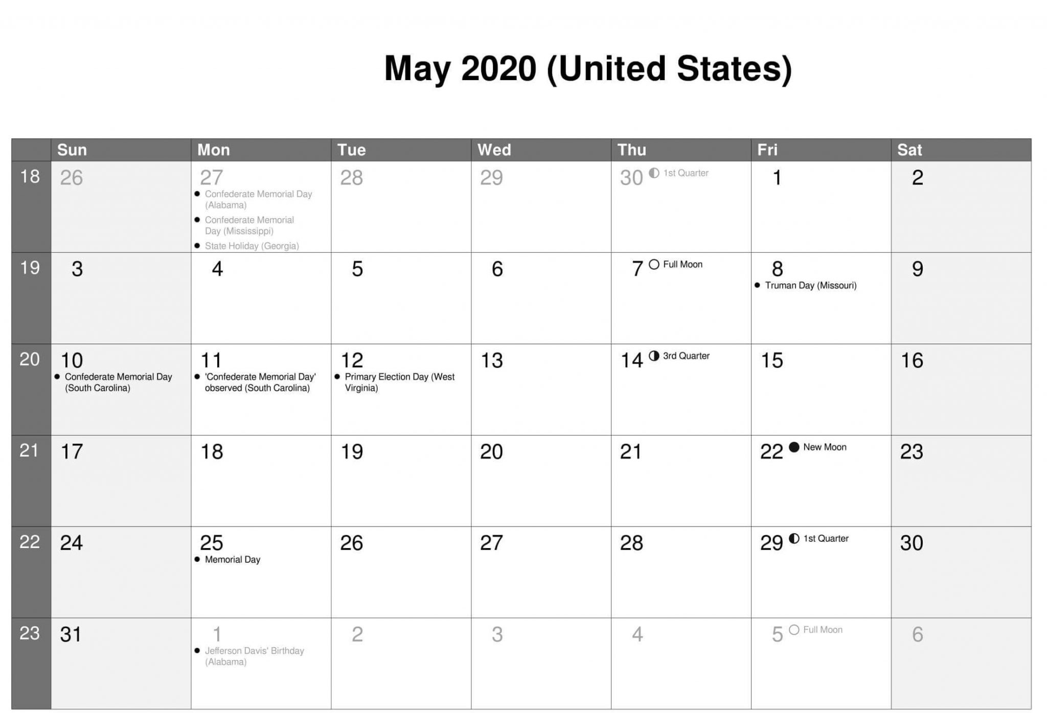 May 2020 Calendar US School Holidays