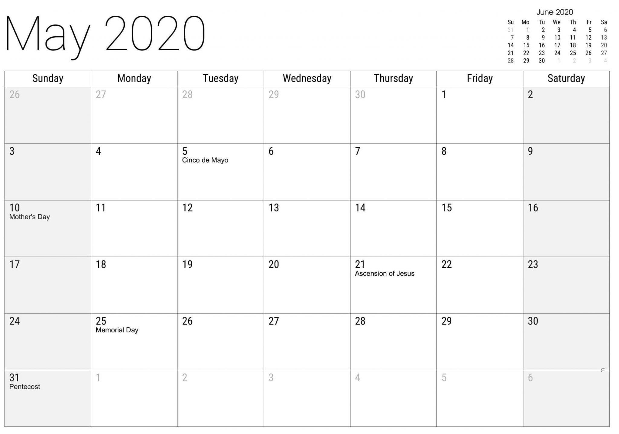 May 2020 Calendar US