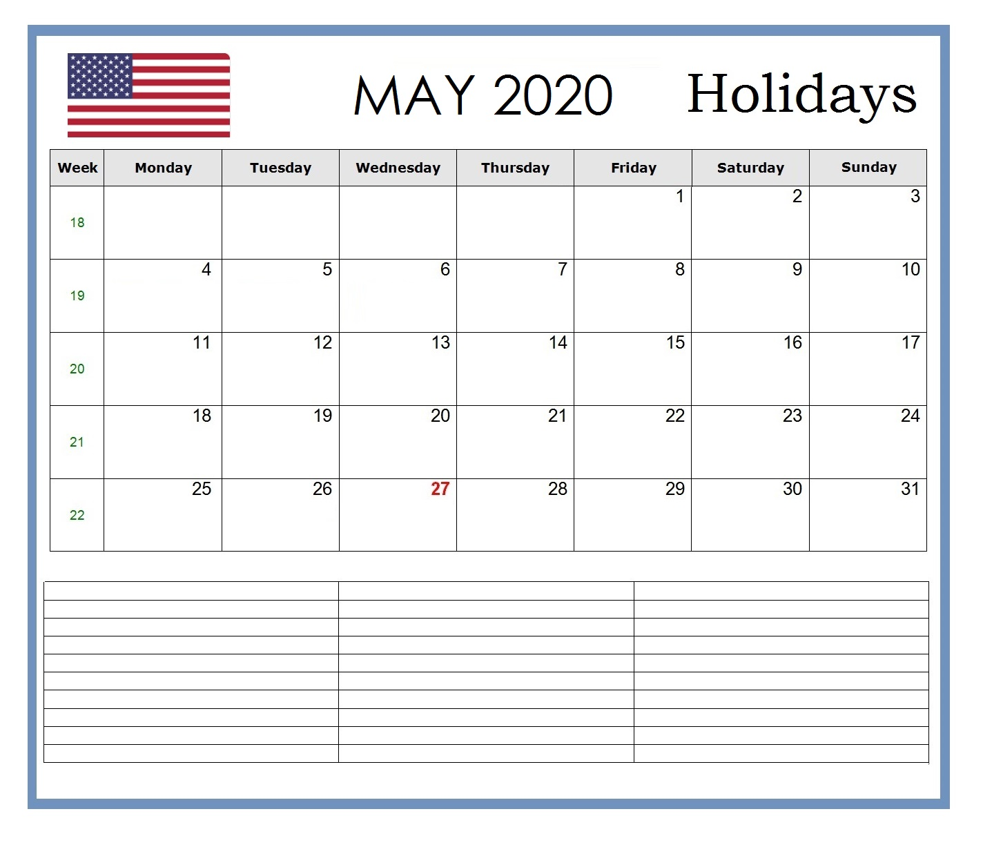 May 2020 Calendar with Holidays USA