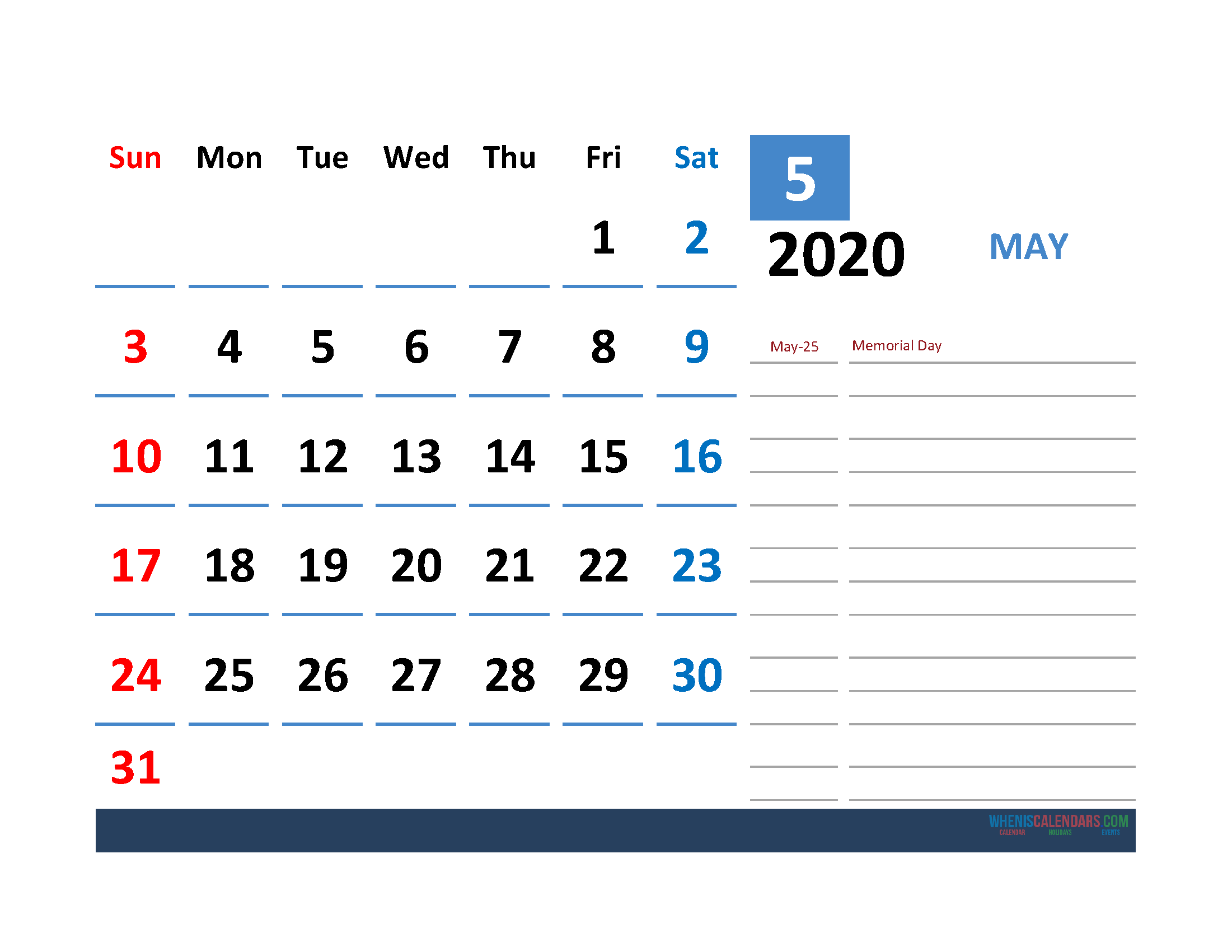 May 2020 Calendar with Holiday Printable