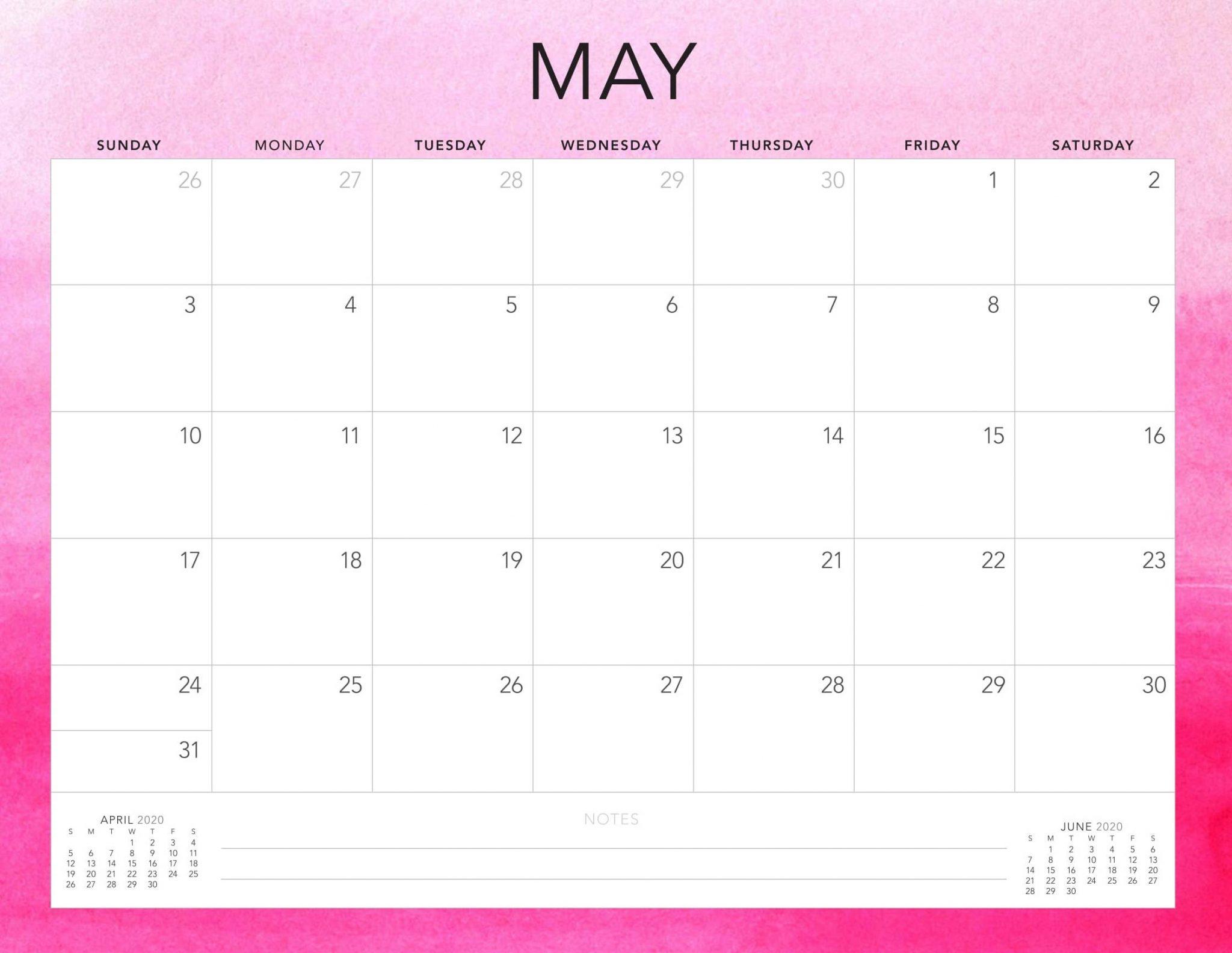 May 2020 US Calendar