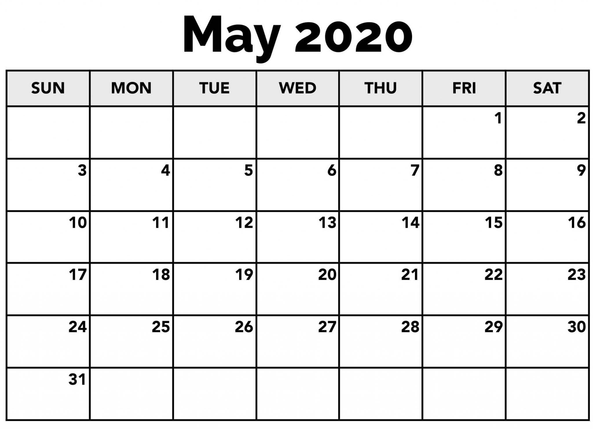 May 2020 USA Calendar