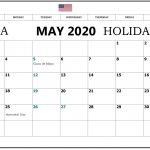 May 2020 USA Holiday Calendar