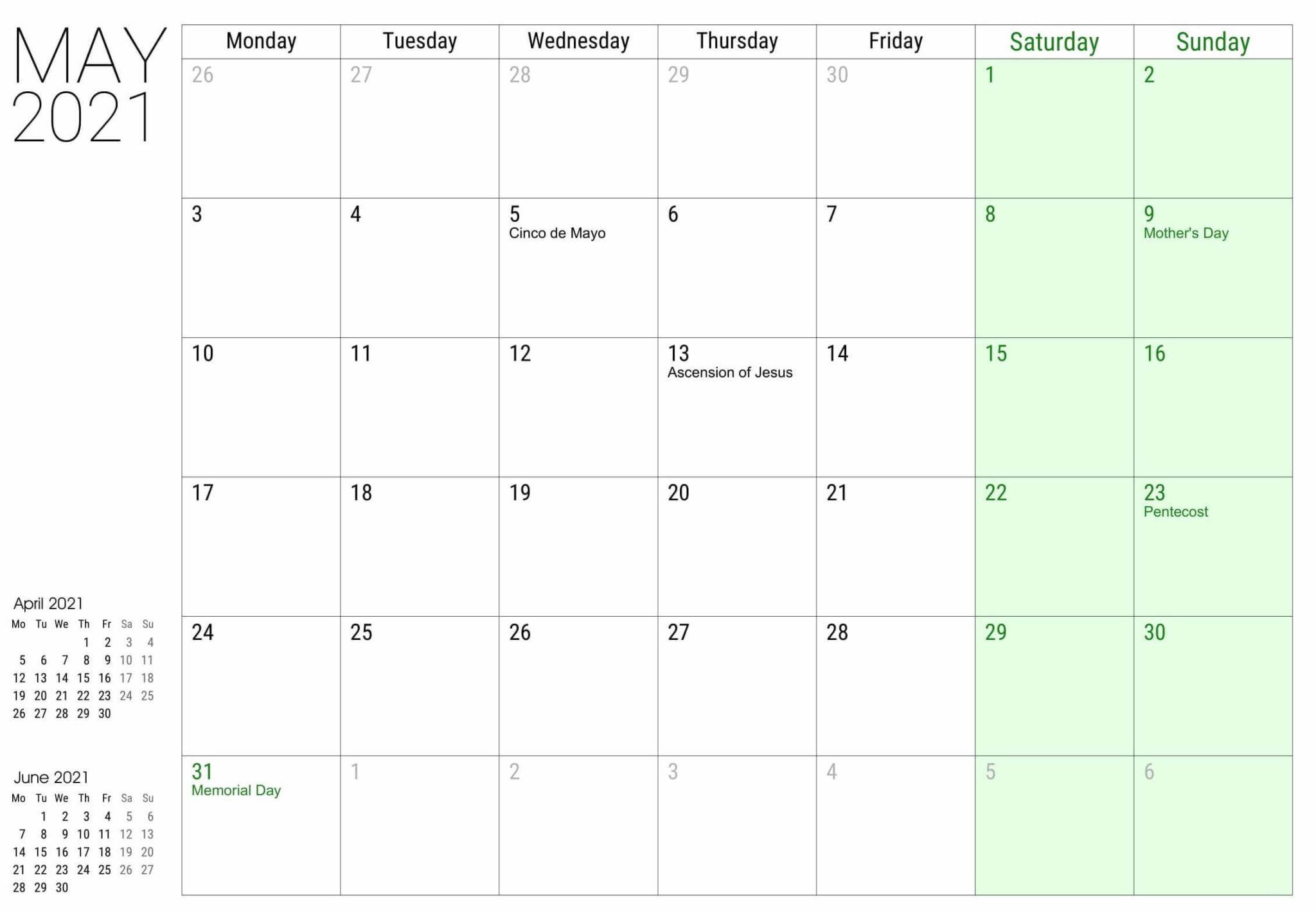 May 2021 Calendar US Federal & Public Holidays