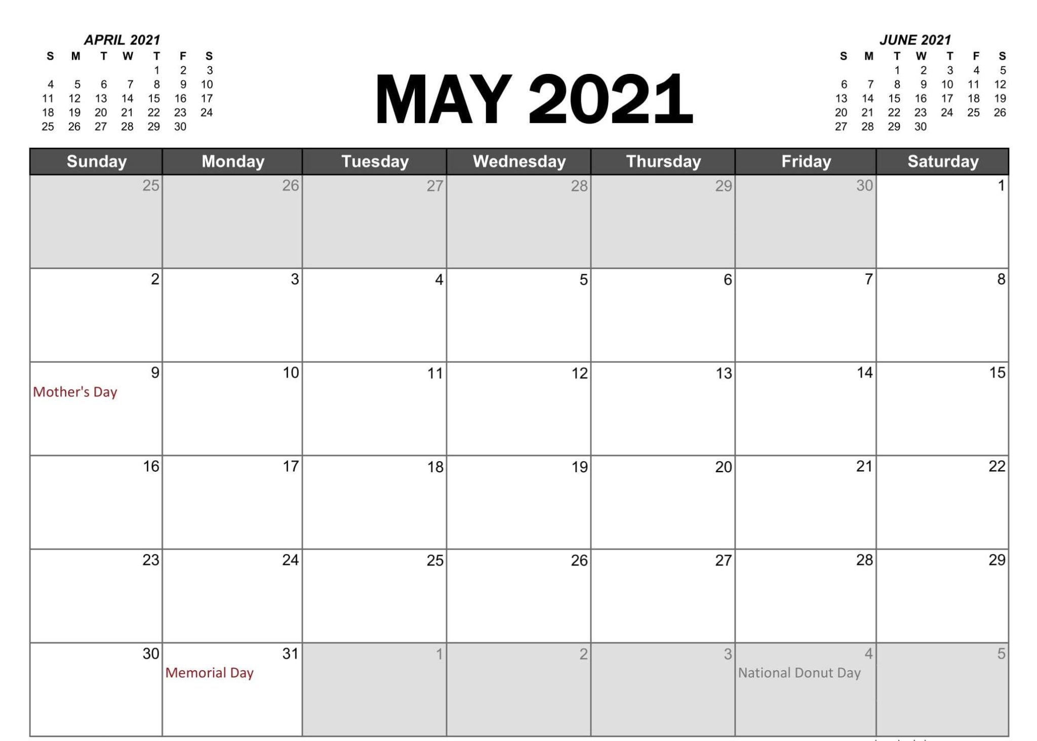 May 2021 Calendar With Holidays