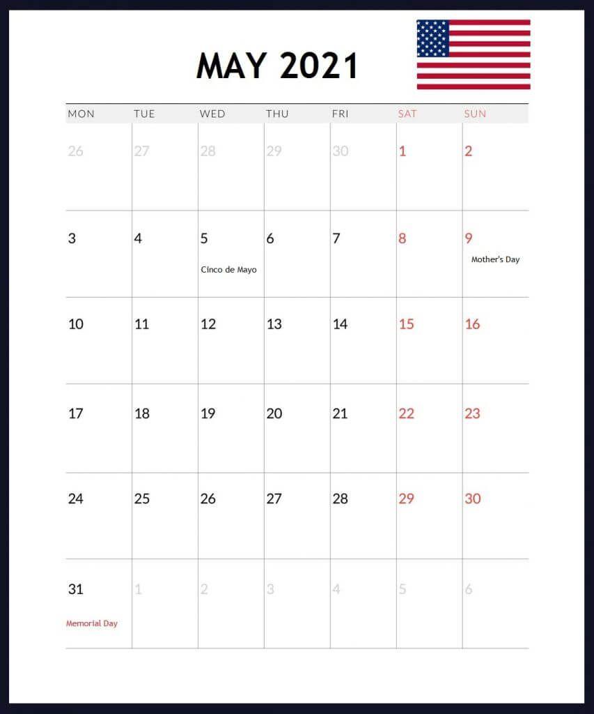 May 2021 US Holidays Calendar