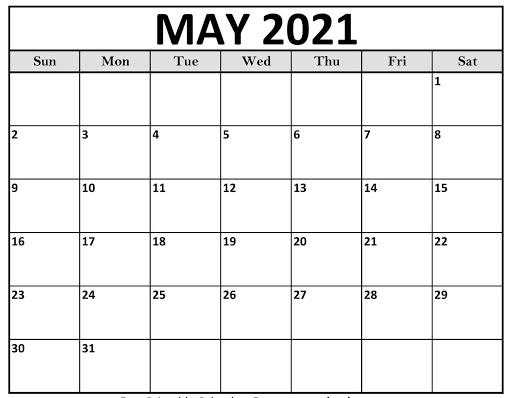 May 2021 USA Calendar