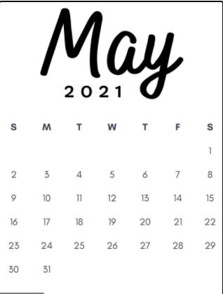 May 2021 Wallpaper Calendar