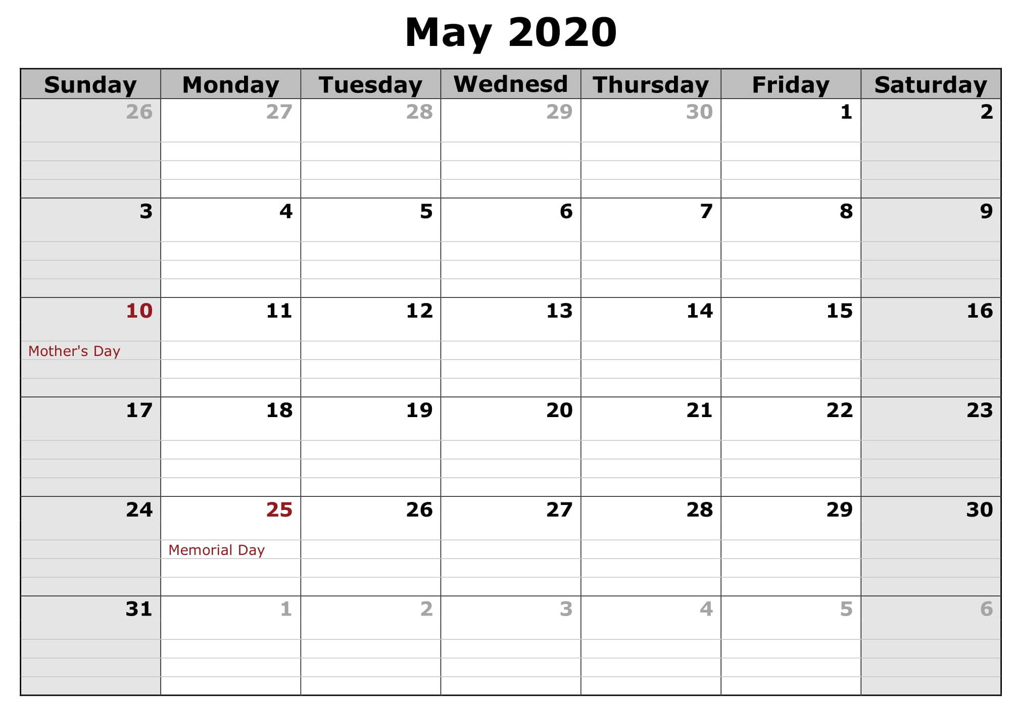 May US Calendar 2020