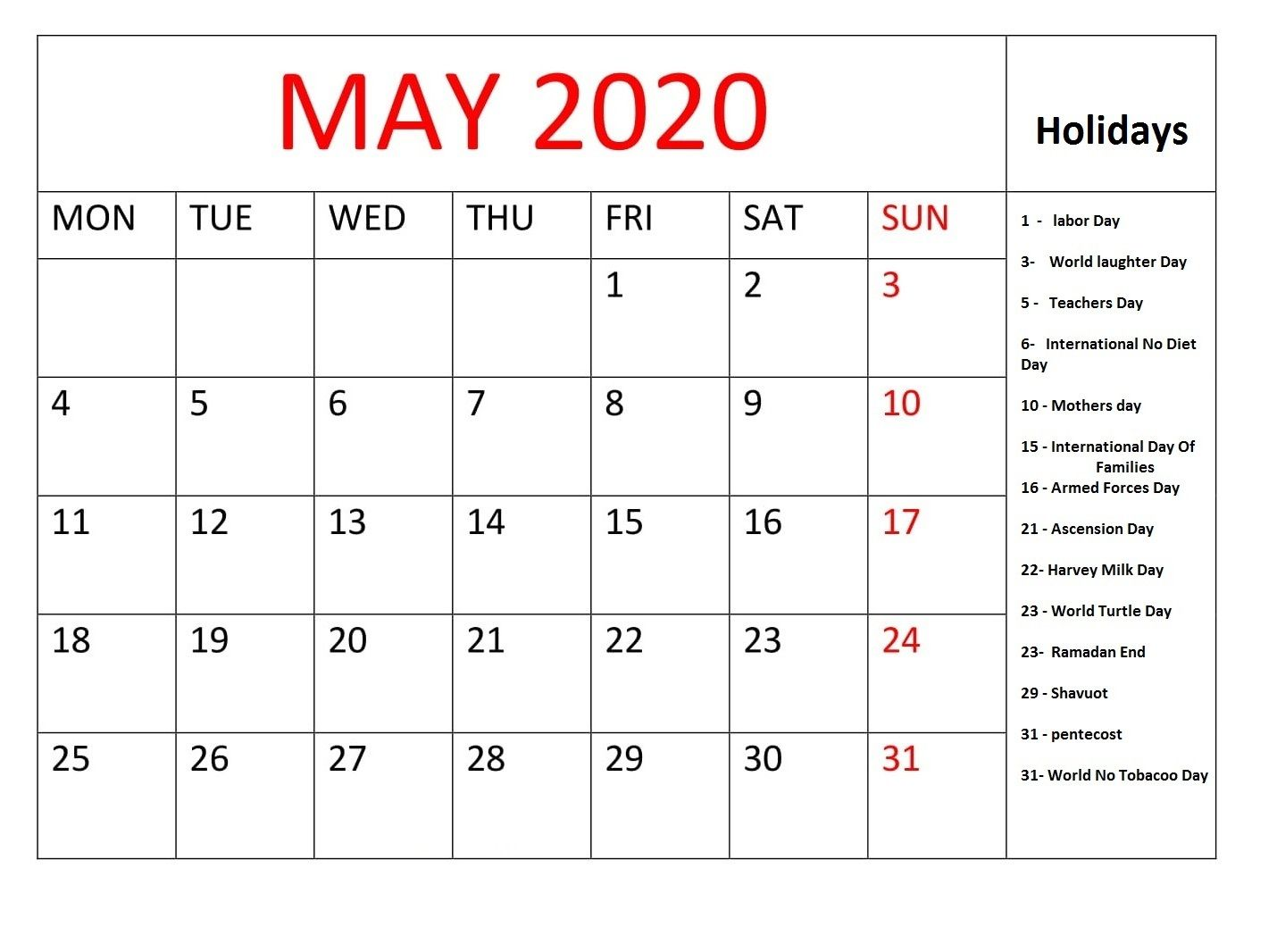 Printable May 2020 Holidays with Calendar