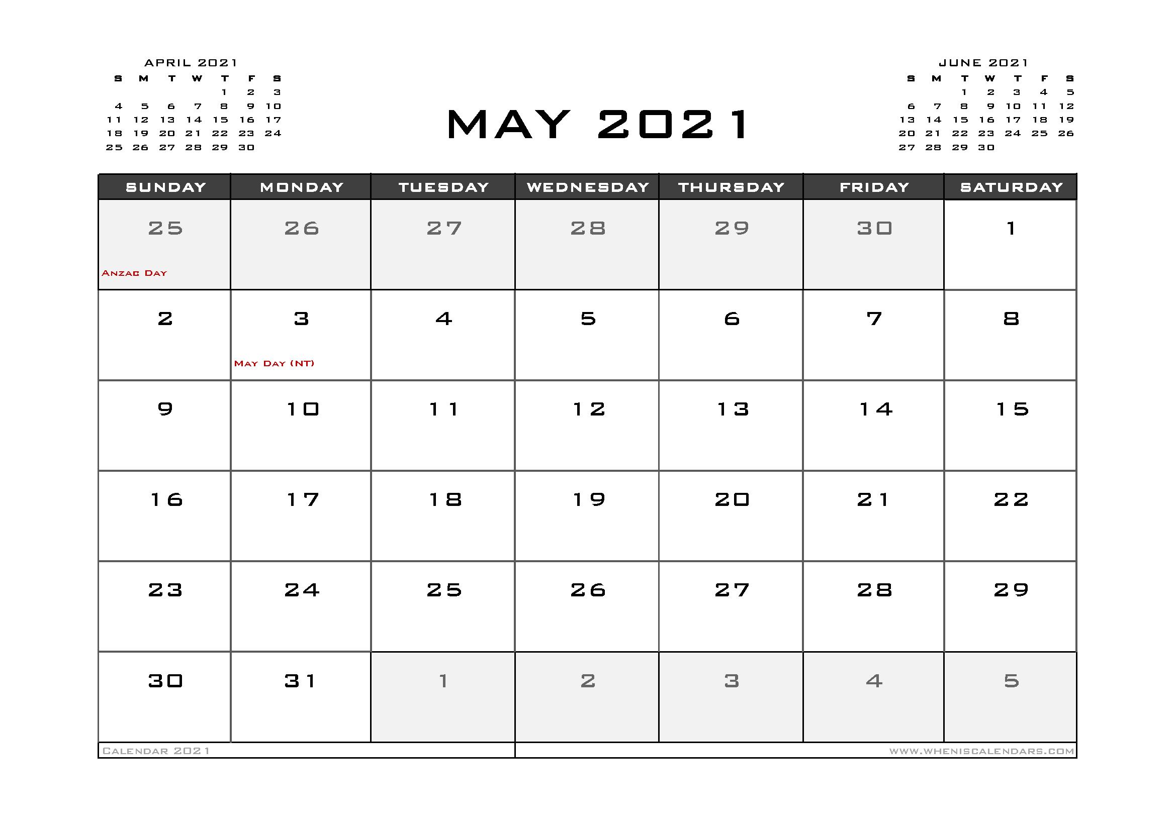 may 2021 calendar with holidays australia