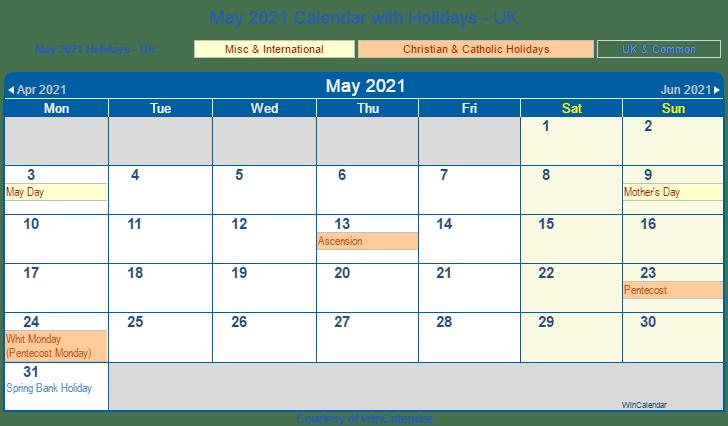 may 2021 calendar with holidays uk