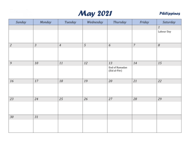 may 2021 holidays philippines calendar