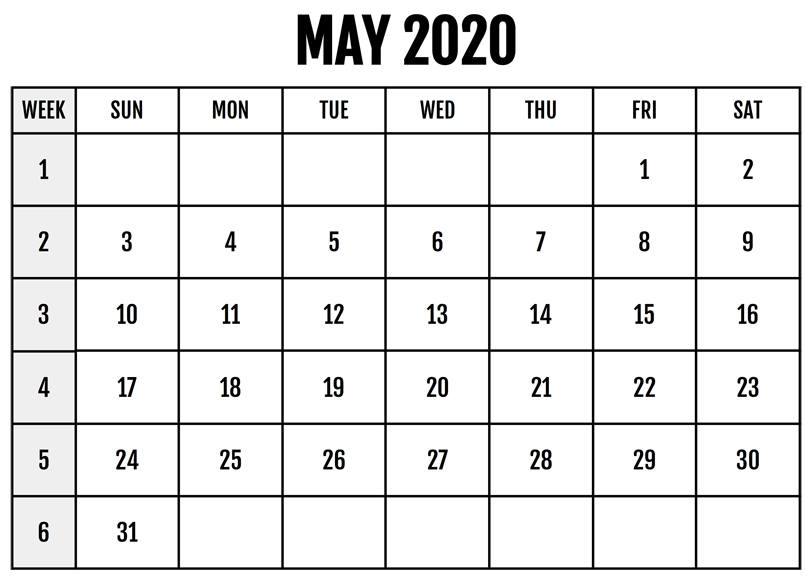 Online Blank May 2020 Calendar Template To Print 3