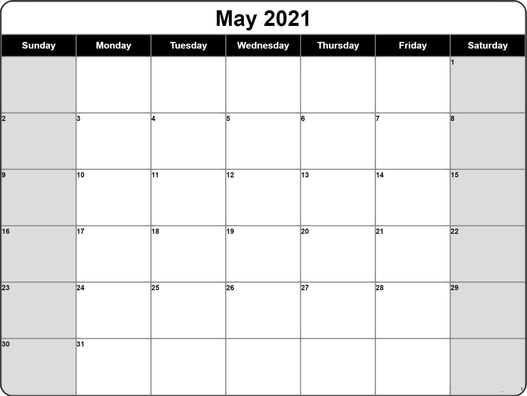 Blank Calendar May 2021 Printable