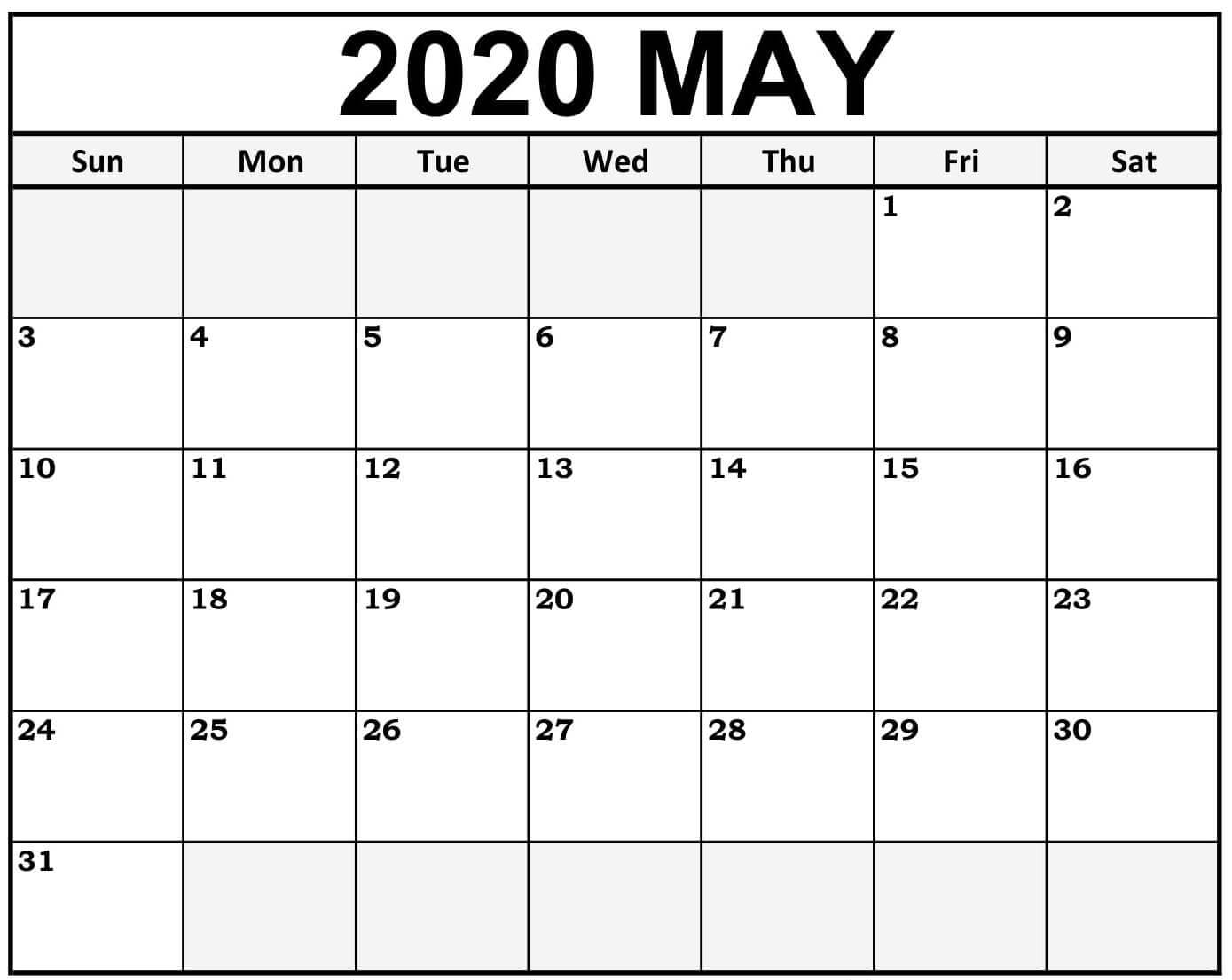 Online Blank May 2020 Calendar Template To Print 1