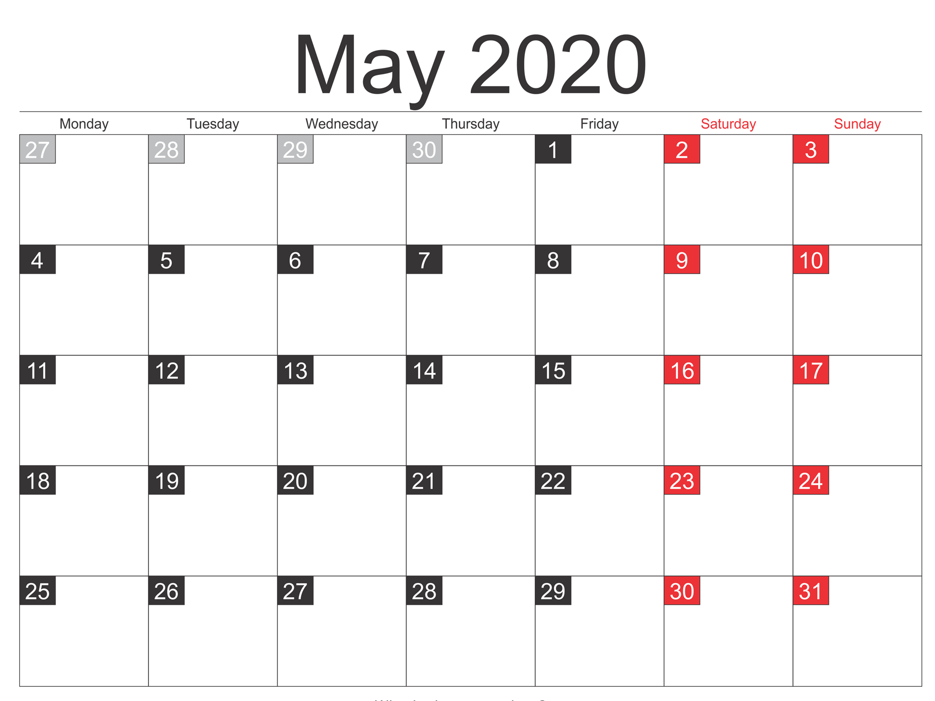 Online Blank May 2020 Calendar Template To Print 5