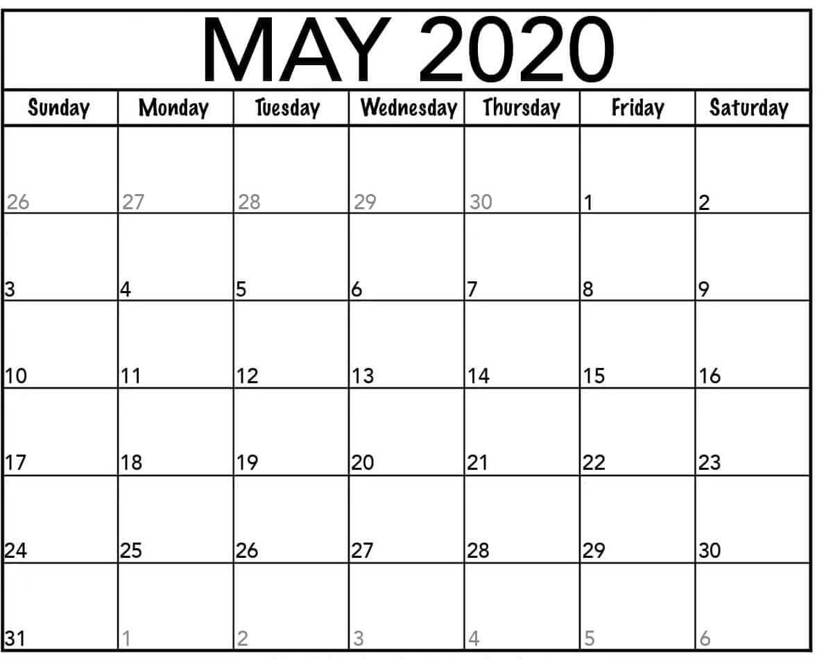 Blank May 2020 Calendar Page