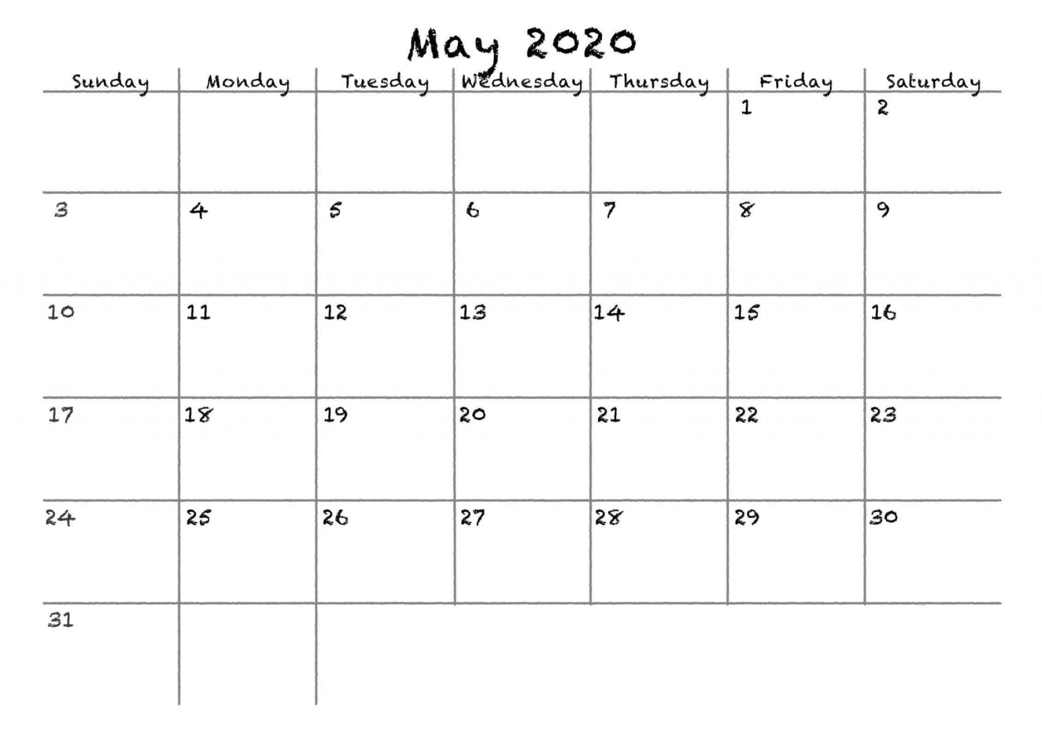 Blank May 2020 Calendar Portrait