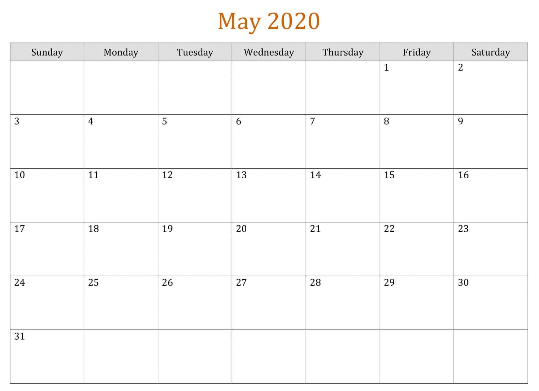 Blank May 2020 Calendar Template To Print 3