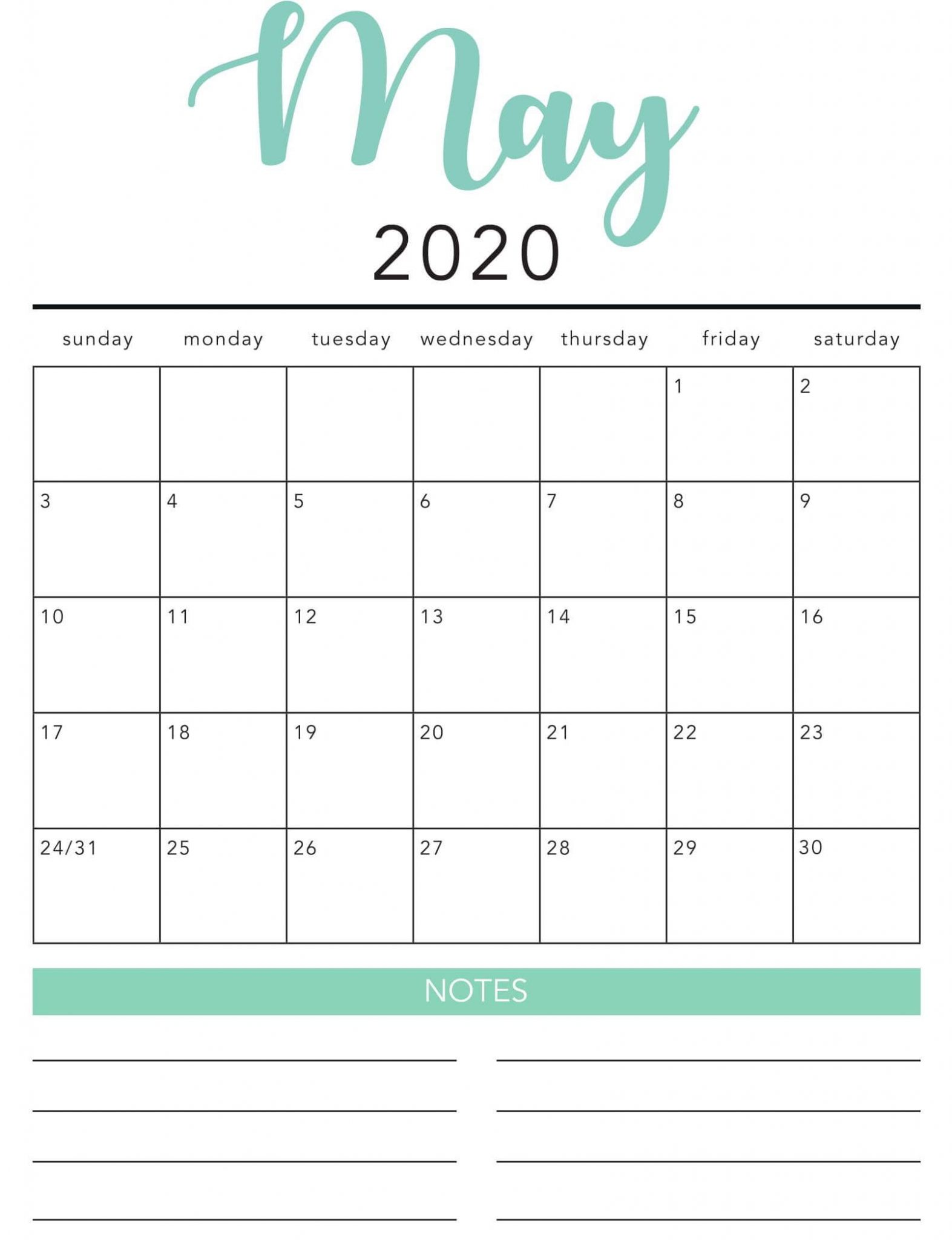 Blank May 2020 Calendar With Notes 3