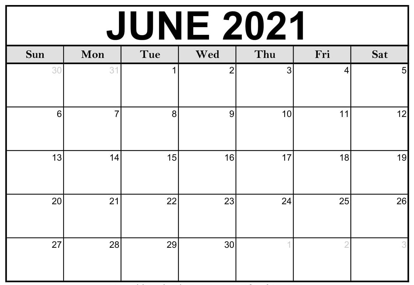 Calendar June 2021 Printable Sheet