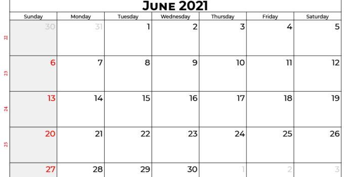 Calendar for 2021 June Month