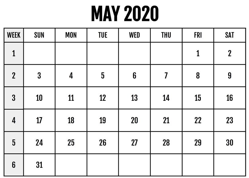 Printable Calendar May 2020 PDF