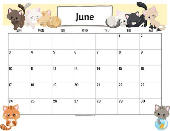 Cute June 2020 Calendar Image