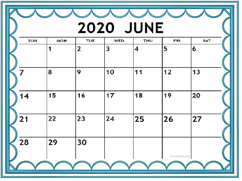 Cute June 2020 Desktop Calendar